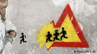 Schild, Grafitti, Flucht