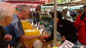 Stall selling regional asparagus at the Karlsruhe market