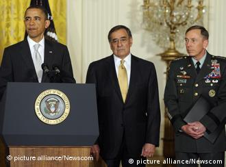 U.S. President Barack Obama announces shifts in military and intelligence leadership in the East Room of the White House in Washington, DC, on April 27, 2011. Obama announced CIA Director Leon Panetta (C) to replace Robert Gibbs as Defense Secretary and Gen. David Petraeus (R) will replace Panetta at the CIA. UPI/Roger L. Wollenberg Photo via Newscom picture alliance