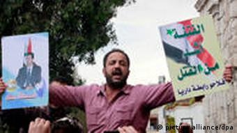 A pro-goverment demonstrator in Damascus on Saturday
