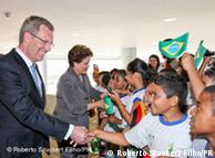 El presidente alemán con la presidenta de Brasil, Dilma Rousseff.