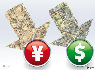 dollar, yen signs with arrows pointing down