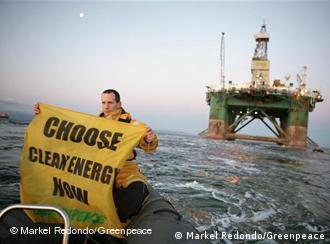 Leiv Eiriksson Oil Rig, with Greenpeace activists