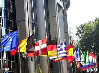 The flags of the 27 EU member states fly outside the European Parliament, Brussels