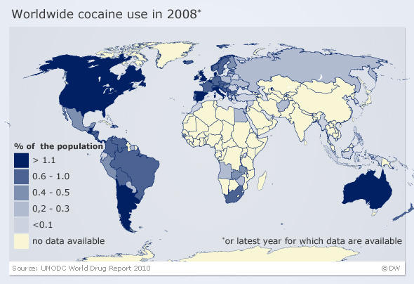 A map shows cocaine consumption in Europe
