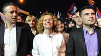 Branko Crvenkovski Radmila Sekerinska Zoran Zaev Wahlkampagne Parlamenstwahlen SDSM,