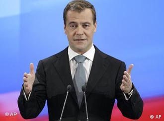 Russlands Präsident Medwedew bei einer Pressekonferenz im Mai 2011 (Archivfoto: AP)