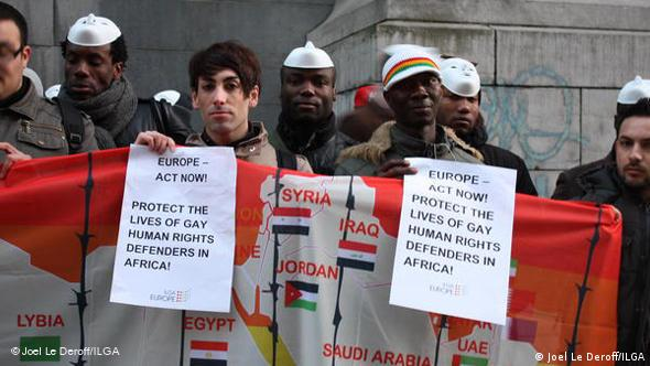People demonstrate for protection of gays and lesbians by Europe following the death of David Kato