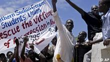Hundreds of southern Sudanese take part in a demonstration against northern Sudan's military incursion into the border town of Abyei in the southern capital of Juba, Sudan, on Monday May 23, 2011. The northern Sudanese military took effective control of hotly contested Abyei on Saturday night, chasing out southern forces and shelling the United Nations compound, as southern Sudan prepares to secede from the north on July 9th, (AP Photo/Pete Muller)
