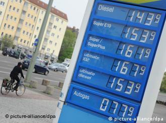 Табло с ценами на бензоколонке
