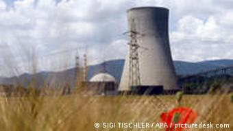 Nuclear power plant in a field