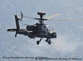 An Apache helicopter in flight