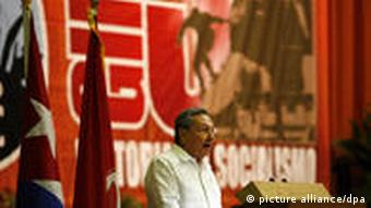A picture dated April 17, 2011 shows Cuban President Raul Castro delivering a speech at the opening of the 6th Congress of the Communist Party of Cuba (PCC) in Havana, Cuba. The PCC will seek to strengthen its 'internal democracy' in its next national conference scheduled for January 8, announced the official press.April 20, 2011. Photo: Jose Goitia/dpa