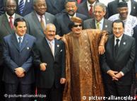 قذافی در جمع برخی سران پیشین عرب، از راست: حسنی مبارک، قذافی، عبدالله صالح و زینالعابدین بنعلی