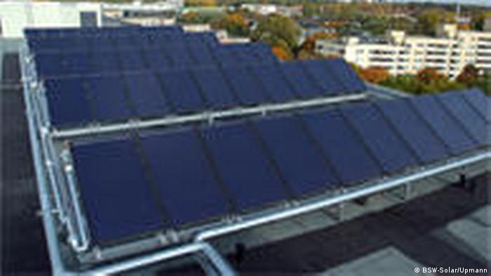 Rooftop solar PV panels on a renovated Berlin building