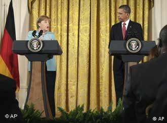 اوباما و مرکل در جریان کنفرانس مطبوعاتی مشترک