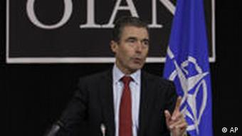 NATO Secretary-General Anders Fogh Rasmussen arrives for an international conference on the ongoing military intervention in Libya, in central London, Tuesday, March 29, 2011.