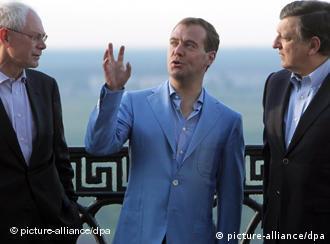 Russian President Dmitry Medvedev (center), European Commission President Jose Manuel Barroso (right) and President of the European Council, Herman Van Rompuy (left)