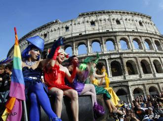 Demonstrators at EuroPride in front of Rome's Colusseum