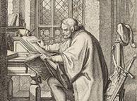 Dibujo de Lutero traduciendo la Biblia (Gustav König).