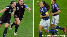 Symbolbild USA Japan Frauenfussball WM 2011 Finale. DW-Fotomontage, Eingestellt 15.07.2011
