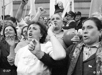 Ukrainian people celebrate in front of the parliament in capital Kiev on August 24, 1991, the day when Ukraine's independence was declared. Since then August 24 is marked throughout the country as the national holiday. One of fifteen former Soviet Republics, Ukraine obtained independence after the Soviet Union collapsed. (AP Photo/Efrem Lukatsky, file)