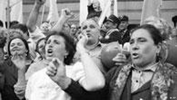 Люди на улицах Киева 24 августа 1991 года