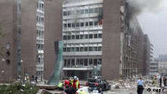 A building with windows blown out by the Oslo blast