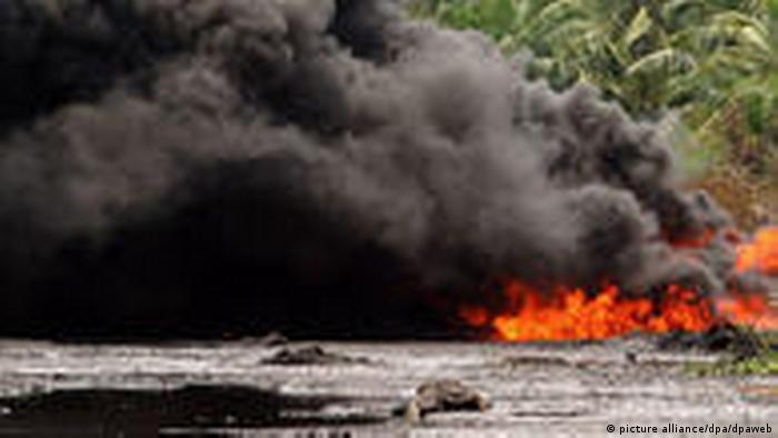 A burning oil pipeline in the Niger Delta