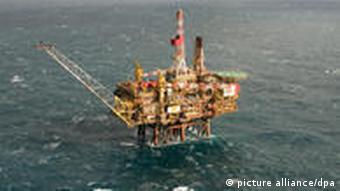 Oil drilling platform in the North Sea