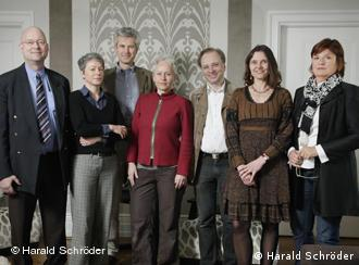 The German Book Prize Jury 2011. From left: Clemens-Peter Haase (Goethe Institut - who died in 2011), Dr. Ina Hartwig (Critic), Uwe Wittstock (Focus Magazine), Dr. Ulrike Draesner (Author), Gregor Dotzauer (Der Tagesspiegel Newspaper), Jury-Vorsitzende Dr. Maike Albath (Deutschlandfunk / DeutschlandRadio Kultur) and Christine Westermann (Westdeutscher Rundfunk)