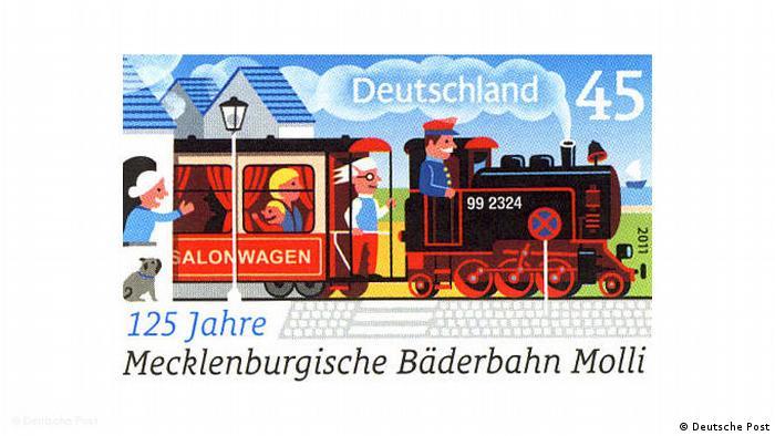 Почтовая марка 125 Jahre Bäderbahn Molli