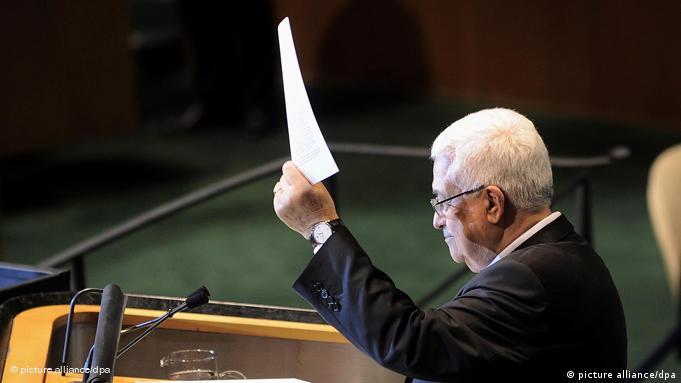 محمود عباس پس از سخنرانی در مجمع عمومی سازمان ملل، درخواست عضویت کامل را نشان میدهد