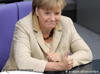 A smiling Angela Merkel