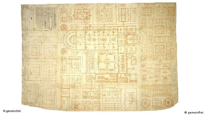 The original plans for the St. Gallen monastery that were never realized