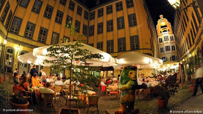 A city café with outdoor seating in Leipzig