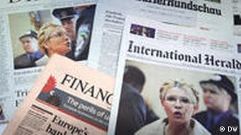 International newspaper front pages showing Yuilia Tymoshenko on October 12, 2010.