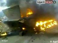 تانکی در حال سوختن در درعا
