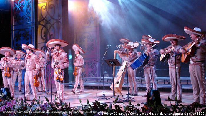 Mariachi band on stage (c) 2006 by Cámara de Comercio de Guadalajara, by permission of UNESCO