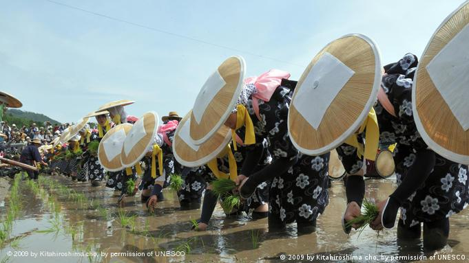 A celebration at a rice paddy in Japan (Copyright: 2009 by Kitahiroshima cho, by permission of UNESCO)