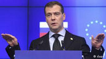 Russia's President Dmitriy Medvedev gestures during a press conference after the Russia-EU summit