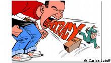 Karikaturen des brasilianischen Malers Carlos Latuff