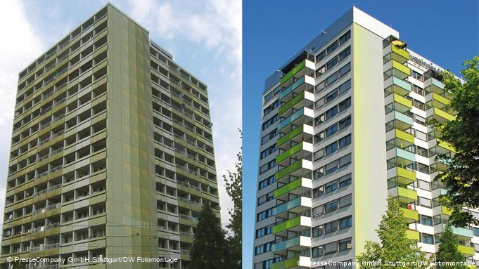 Es handelt sich um das erste Passiv-Hochhaus der Welt und steht in Freiburg. Das Hochhaus wurde 1968 gebaut und 2011 zum Passiv-Hochhaus saniert. Die Fotos sind für die DW zeitlich und räumlich unbegrenzt Rechtefrei Fotoquelle: PresseCompany GmbH Stuttgart