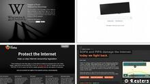 A combination of screen captures show websites Wikipedia (top L), Google (top R), Mozilla (bottom L) and Reddit during their online blackout protest against proposed legislation on online piracy January 18, 2012. The companies oppose bills designed to curb access and payments to overseas websites that traffic in stolen content or counterfeit goods on the grounds that it could put them in legal peril. REUTERS/Staff (UNITED STATES - Tags: SCIENCE TECHNOLOGY BUSINESS CIVIL UNREST POLITICS) / eingestellt von li