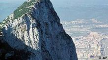 The summit of the Rock of Gibraltar stands at about 1,200 feet, rising high above the sea that separates Spain from the African continent, in Gibraltar, in this February 2000 photo. (AP Photo/Lisa Marie Pane)