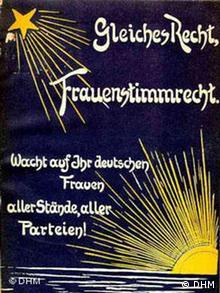 Werbeplakat zum Frauenwahlrecht