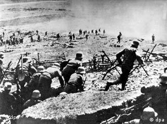 An archive picture from 1915 showing troops fighting on the front