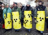 Anti-nuclear protesters standing in a line