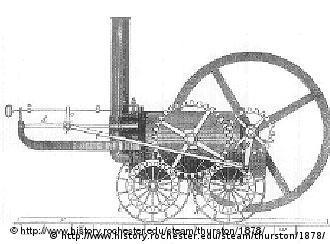 A primeira locomotiva do mundo, construída em 1804 por Richard Trevithick