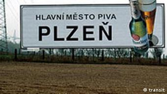 An entrance sign to Pilsen, depicting a beer glass